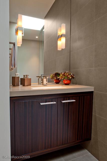 Modern ebony and pewter powder room contemporary for Modern powder room vanity