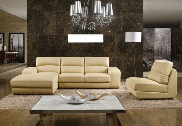 Contemporary Full Italian Leather L Shape Furniture With Pillows Contemporary Sectional