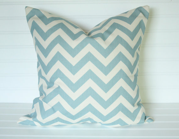 Blue/Ivory Chevron Pillow Cover By The Lacey Placey contemporary-pillows