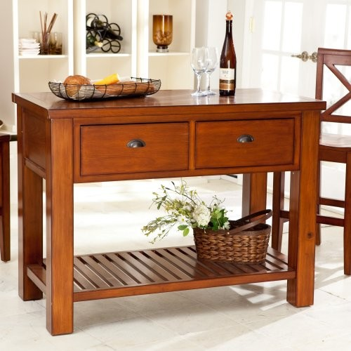 Finley Home Carlton Kitchen Island with Pass-Through Drawers - Heritage Oak modern kitchen islands and kitchen carts
