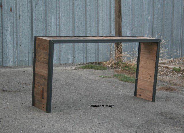 Vintage industrial console table reclaimed wood and steel sofa table
