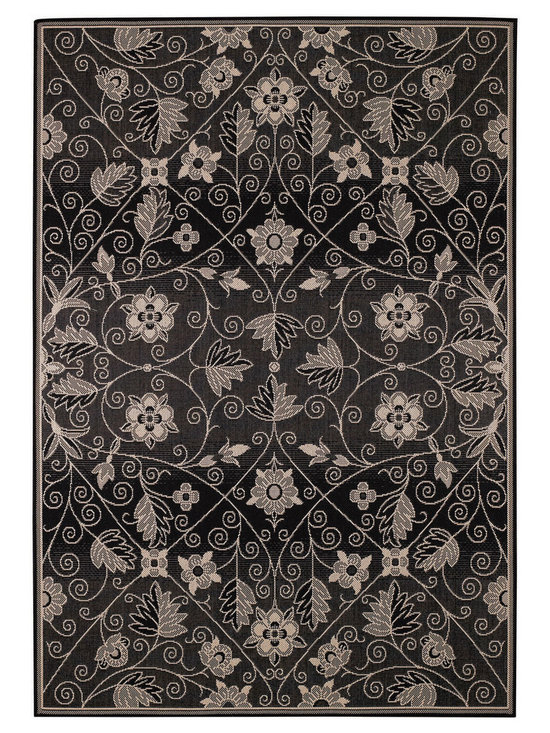 """Finesse Garden Maze rug in Black - An esteemed """"Capel Anywhere"""" rug collection woven on precision machine looms in Europe. A flat weave construction of pure Olefin yarn, these versatile rugs can be used in high traffic areas indoors - like kitchens and sunrooms - or to dress up covered porches and decks outside. The graceful pattern is a direct replication of an antique fabric found in the famous Williamsburg archives."""