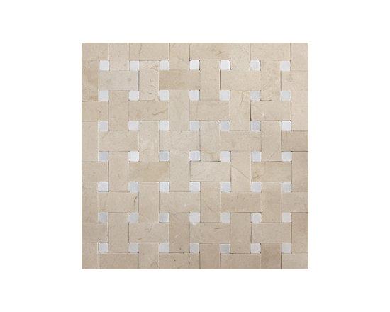 Crema Marfil & Thassos White Basketweave Natural Stone Mosaic -