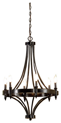 6-Light Distressed Iron Chandelier modern-chandeliers
