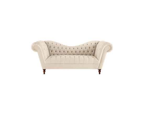 """Old Hickory Tannery - Old Hickory Tannery """"Ellsworth"""" Neutral Recamier Sofa - Exclusively ours. Sweeping curves and deep tufting combine with neutral upholstery for a classic sofa with go-anywhere style. From Old Hickory Tannery®. Handcrafted. Birch frame with coffee-bean finish. Hand-tufted cotton twill upholstery over..."""