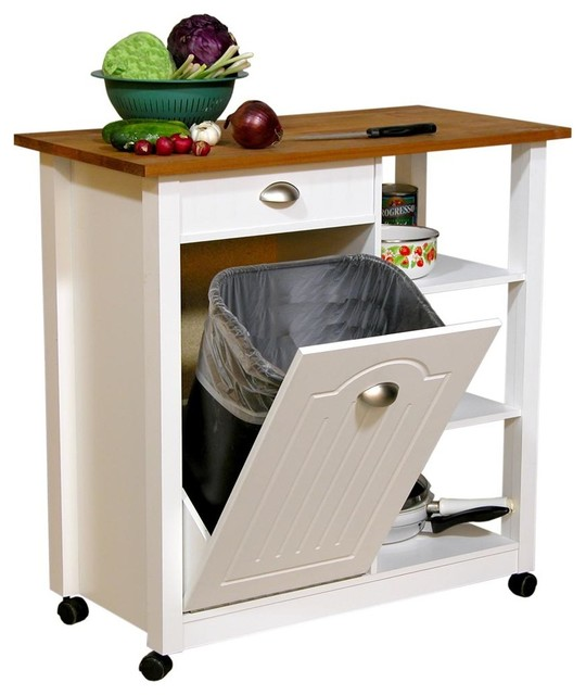 Mobile Kitchen Island Trash Bin W 3 Shelf Pan
