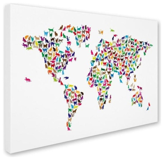 Michael Tompsett 39 Cats World Map 39 Canvas Art Contemporary Prints