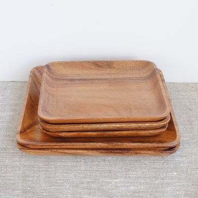 Square Acacia Tray traditional-platters