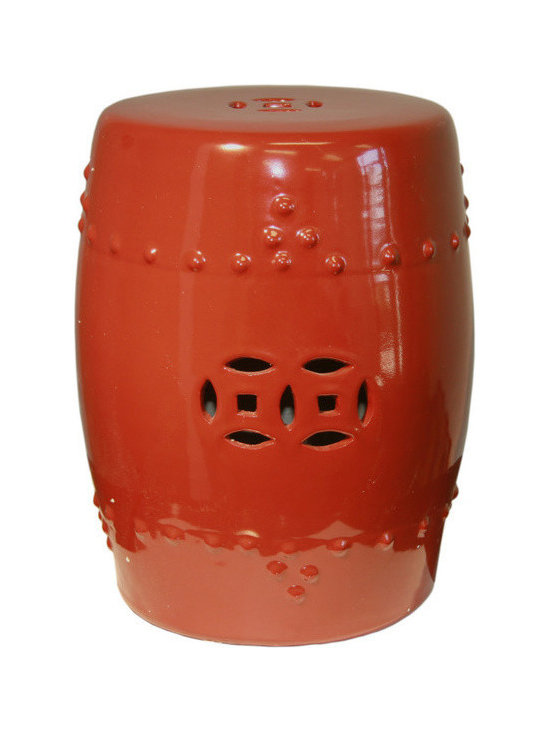 Belle & June - Scarlet Red Garden Stool - Add a burst of color to your decor, indoors or out. This scarlet porcelain stool (which doubles as a plant stand) makes a striking statement.