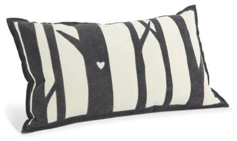 Tree White & Charcoal Pillow modern-decorative-pillows