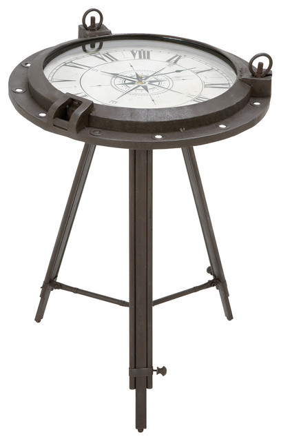 Urban designs industrial porthole metal round clock coffee and end table side tables and end Coffee table with clock