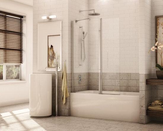 """Fleurco Banyo Sienna Tub Shield 39"""" x 58"""" Frameless Pivot Tub Shield ESH24 - In-Line shower or tub configurations"""