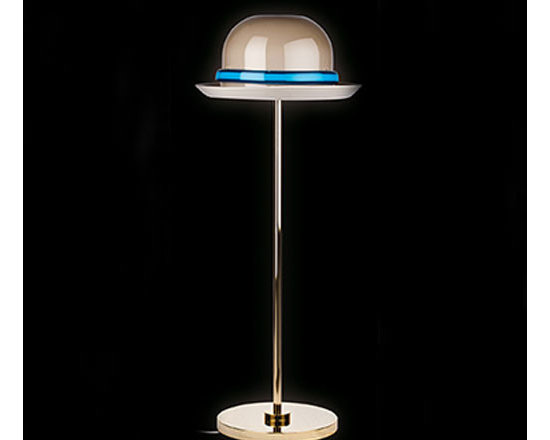 Venini - Mae West Hat Floor Lamp - Mae West Hat Floor Lamp features a hand blown glass Hat diffuser Grey with a Blue band and  Gold finish. This is a Numbered Limited Edition. One 25 watt, 120 volt JCD type G9 base halogen bulb is required, but not included. 16.53 inch width x 43.3 inch height.