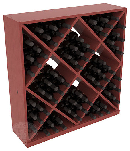 Solid Diamond Wine Storage Cube in Pine with Cherry Stain + Satin Finish contemporary-wine-racks