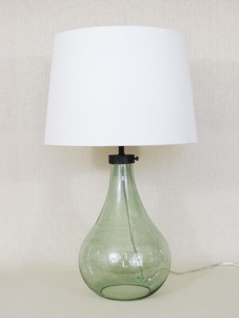 Lamp, Recycled Glass/Industrial Detail contemporary table lamps