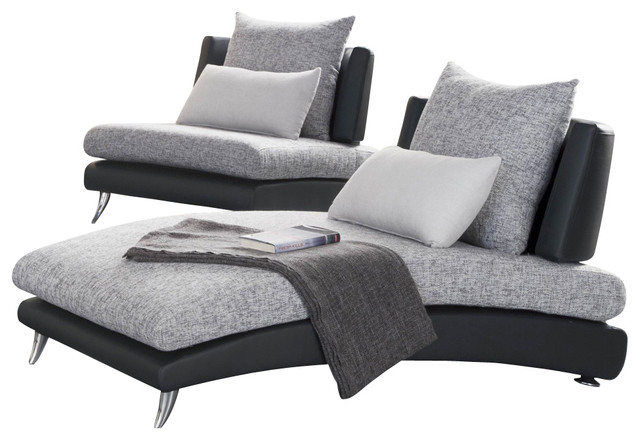 Homelegance Renton Upholstered Chaise in Black and Grey Traditional Indoo