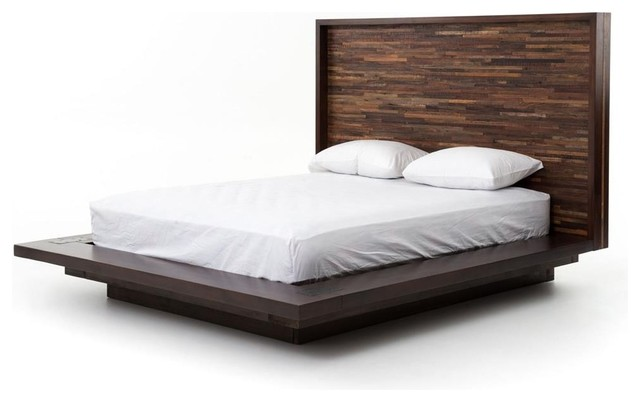 Devon Reclaimed Wood Queen Platform Bed Frame Rustic