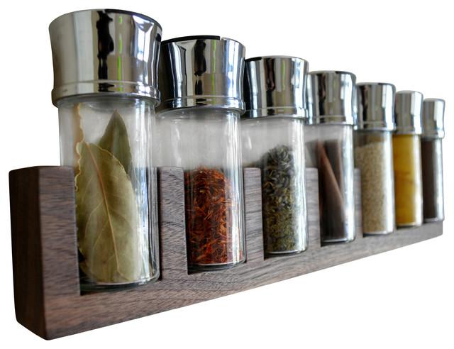 Minimalist Spice Rack Hardwood Walnut 7 Jars Modern