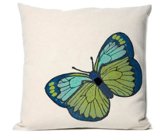 """Trans-Ocean Outdoor Pillows - Trans-Ocean Liora Manne Butterfly Green - 20"""" x 20"""" - Designer Liora Manne's newest line of toss pillows are made using a unique, patented Lamontage process combining handmade artistry with high tech processing. The 100% polyester microfibers are intricately structured by hand and then mechanically interlocked by needle-punching to create non-woven textiles that resemble felt. The 100% polyester microfiber results in an extra-soft hand with unsurpassed durability."""