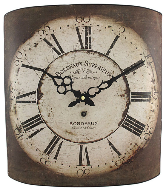 Distressed Finish Bordeaux Wine Label Metal Wall Clock