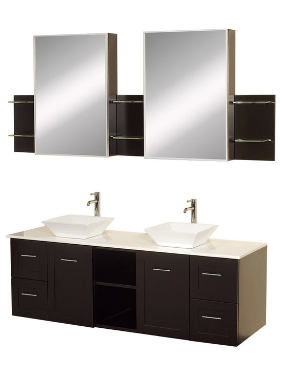 """Wyndham Collection - Wyndham Collection 60"""" Avara Double Sink Vanity Set w/ White Man-Made Stone Top - Make a statement with the Avara double vanity, and add a twist of the transitional to an otherwise modern classic. The Avara is the perfect centerpiece to any master bathroom suite, featuring Blum soft close hinges and Blum soft close drawer guides. You'll never hear a door or drawer slam shut again!"""