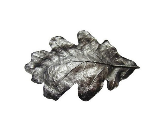 """Inviting Home - Oak Leaf Bin Pull (antique pewter) - Hand-cast Oak Leaf Bin Pull in antique pewter finish; 4-1/2""""W x 2-3/4""""H; Product Specification: Made in the USA. Fine-art foundry hand-pours and hand finished hardware knobs and pulls using Old World methods. Lifetime guaranteed against flaws in craftsmanship. Exceptional clarity of details and depth of relief. All knobs and pulls are hand cast from solid fine pewter or solid bronze. The term antique refers to special methods of treating metal so there is contrast between relief and recessed areas. Knobs and Pulls are lacquered to protect the finish."""