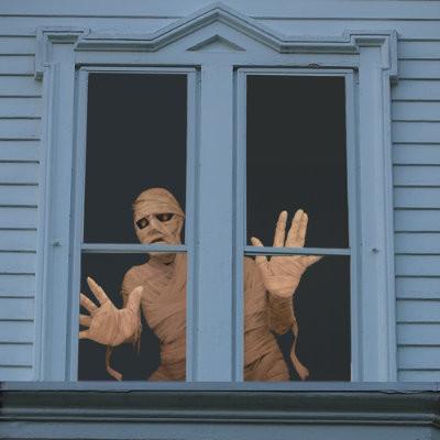 Menacing mummy halloween window panels halloween for Halloween window designs