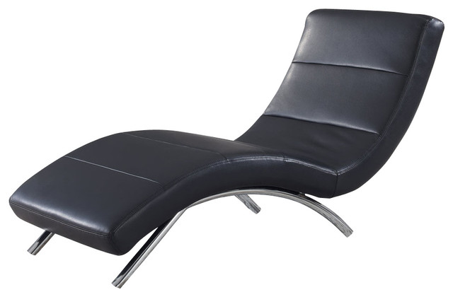 Global furniture usa r820 leather chaise lounge in black for Black chaise lounge indoor