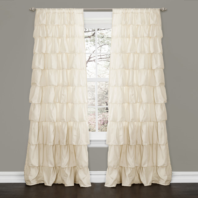 Lush Decor Ivory 84-inch Ruffle Curtain Panel contemporary-curtains