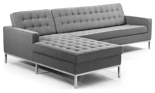 Kardiel florence knoll style left sectional cadet grey for Florence modern sectional sofa