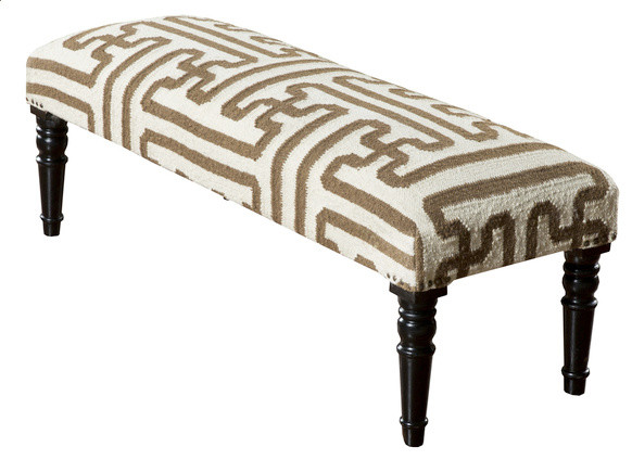 Dane Woven Wool Wood Frame Ottoman Contemporary