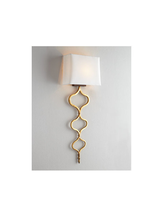 Regina-Andrew Design - Regina-Andrew Design Sinuous Metal Sconce - Tall and slender, this intriguing sconce features an ogee-design base to add texture to the wall as it brings lighting to the room. Made of metal. Gold-leaf finish. Natural linen shade with styrene backing. Uses one 40-watt bulb. Direct wire; profe...