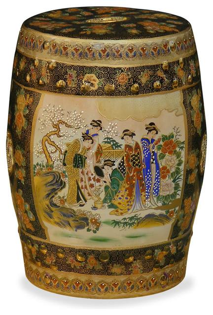 satsuma design porcelain garden stool asian accent and