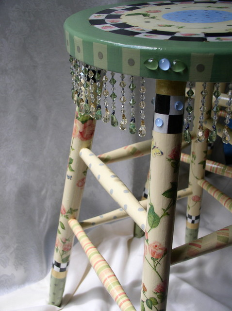 Hand Painted Whimsical Stool Furniture New York By