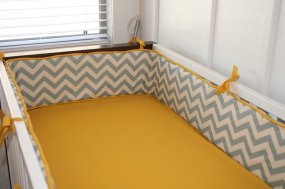 Chevron Custom Crib Bumper by Tuft Love Fabric & Interiors modern crib accessories