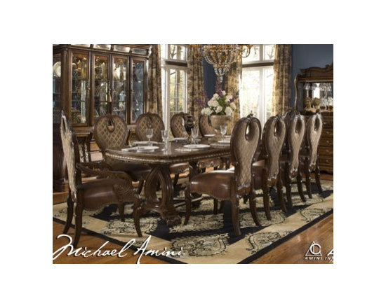 AICO Furniture - The Sovereign Rectangular Table Set - 57002-51-11pc - Soft curves
