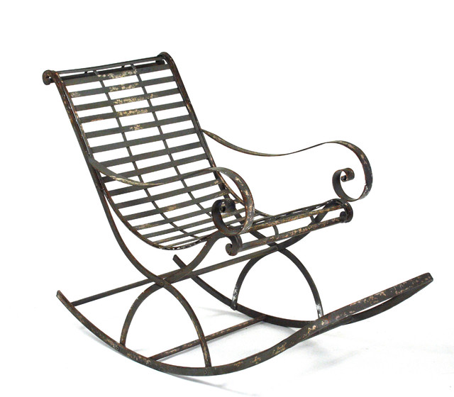 Vintage Reproduction French Art Nouveau Metal Rocking Chair Victorian Roc