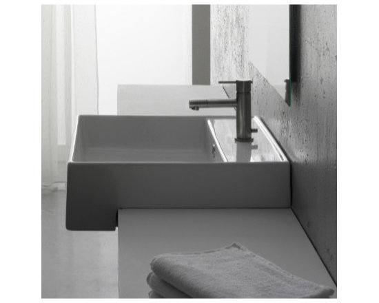 "Scarabeo - Unique Modern Square Semi Recessed Sink by Scarabeo - Designed and manufactured in Italy by Scarabeo. Unique modern semi recessed square bathroom sink made of high quality white ceramic. Washbasin includes overflow and the option for no faucet hole, a single hole (as shown), or 3 holes. Sink dimensions: 18.10"" (width), 5.50"" (height), 18.10"" (depth)"