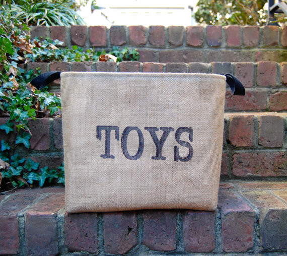 Monogram Burlap Fabric Bin Container by A Southern Bucket contemporary-toy-storage