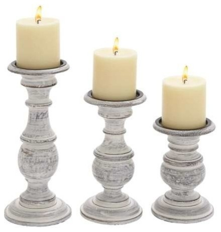 Distressed white wood candleholders set of 3 rustic for Rustic wood candle holders