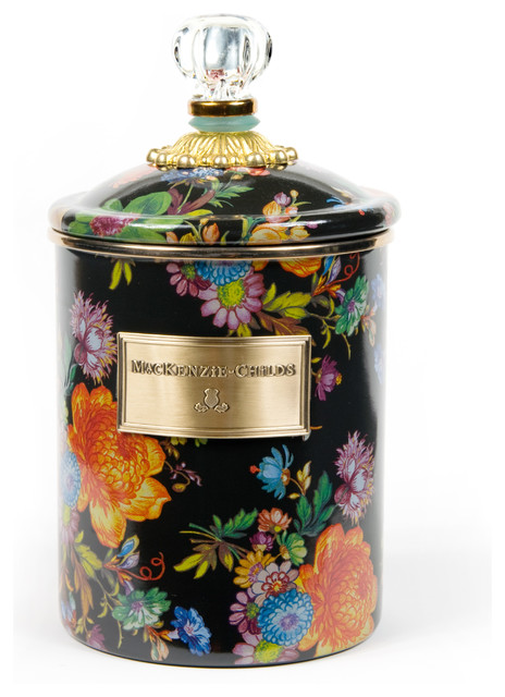 Flower Market Medium Enamel Canister - Black | MacKenzie-Childs eclectic-food-containers-and-storage
