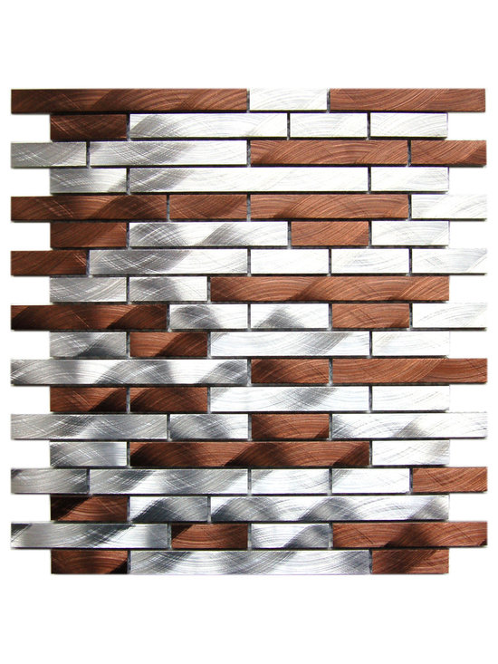 Eden Mosaic Tile - Silver and Chocolate Brick Mixed Aluminum Mosaic Tile, Sheet - Inspired by two very good things, these delightfully contrasting silver- and chocolate-hued aluminum tiles offer a decadent look for your favorite spaces. Accent your fireplace, kitchen or bath with this charming mosaic for deliciously radiant style. Samples are approximately 1/6 to 1/4 of a regular sized sheet. Please note: Sample tiles are not returnable. Only one sample per style is allowed. Only five samples may be ordered.