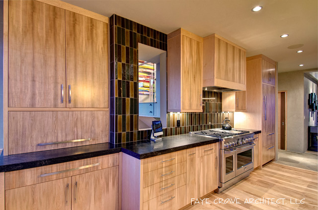 Custom kitchen cabinets spalted maple for Modern custom kitchen cabinets