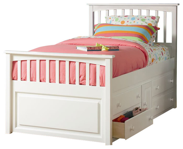 Atlantic furniture mate 39 s storage bed with underbed 4 drawer chest in white twin transitional - Kids bed with drawers underneath ...