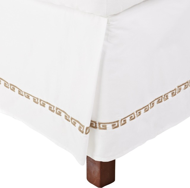 Kendell Twin XL Bed Skirt Cotton - White/Taupe traditional-bedskirts