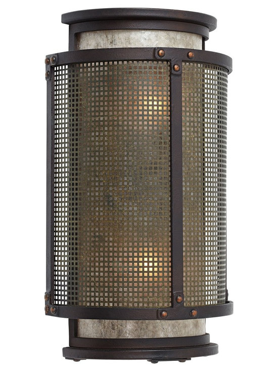 Modern Rustic Mica Mineral Cylinder Wall Sconce with Mesh Screen - Bring rustic modern style to your home decor with this bronze wall sconce crafted from hand-worked wrought iron. A mesh screen surrounds a warm mica mineral inner cylinder that diffuses the light. This transitional fixture is from Troy Lighting.