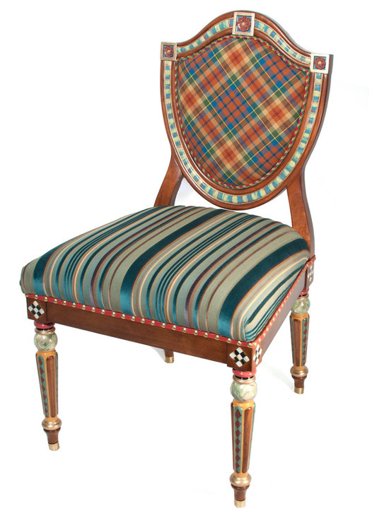 Highland Shield Back Chair | MacKenzie-Childs - As close as we get to a coat of arms! The back of our Highland Shield Back Chair is upholstered in our exclusive MacKenzie tartan plaid surrounded by multi colored braided trim. The seat is upholstered in rich teal, eggplant, and gold striped velvet and trimmed with a band of red leather, adorned with individually tacked brass nailheads. Hand-painted legs feature a diamond motif painted in red and teal, and accented by orange and gold. Each leg ends in a brass cap. Imported frame, hand decorated in Aurora.