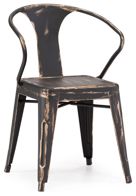 Helix Chair Antique Black Gold Set Of 2 Rustic