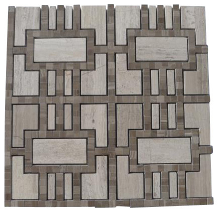 Lineage Gray Wood and Athens Gray Line Marble Tile craftsman-tile