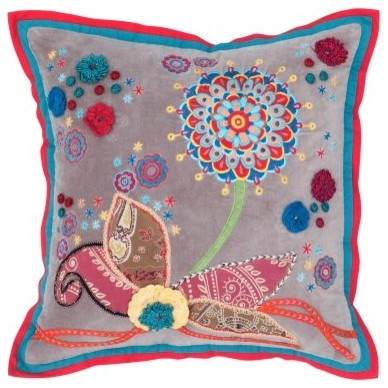 Rizzy Home Patchwork Vibrant Flower Embroidered Decorative Throw Pillow modern-decorative-pillows
